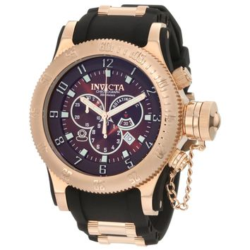 Invicta 10136 Men's Russian Diver Chronograph Brown Dial Black Rubber Strap Dive Watch
