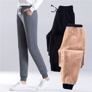 and winter flannel pants, women's baggy pants, children's new warm pants, casual Haren pants, thickened trousers.