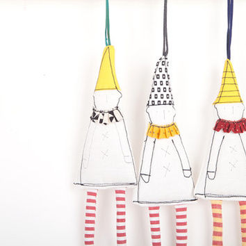 Christmas limited-edition fabric ornaments - eco gnome dwarf in Black White geometric hat yellow collar ,striped  red pants. timo handmade