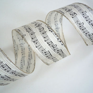 "Black Musical Notes wired ribbon decorations Music Themed Ivory Christmas ribbon wreaths make Christmas wired ribbon bows 2.5"" 5yds"