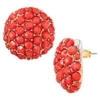 Button Earrings With Stones - Coral
