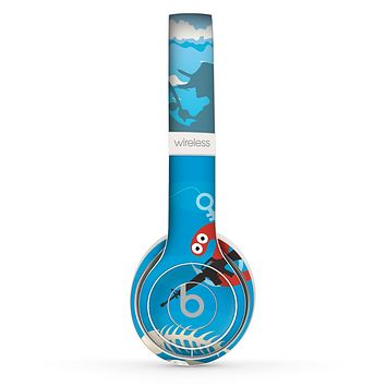 The Cartoon Worm with Machine Gun Irony Skin Set for the Beats by Dre Solo 2 Wireless Headphones