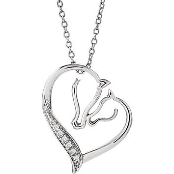 "ASPCA Tender Voices® Sterling Silver .03 CTW Diamond Horse 18"" Necklace"