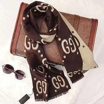 GUCCI Classic Fashionable GG Letter Cashmere Cape Scarf Shawl Scarves Accessories Coffee