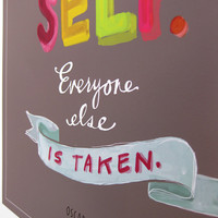 """Oscar Wilde """"Be Yourself"""" Inspirational Quote, 11x14 Print Grey Colorful by Emily McDowell"""