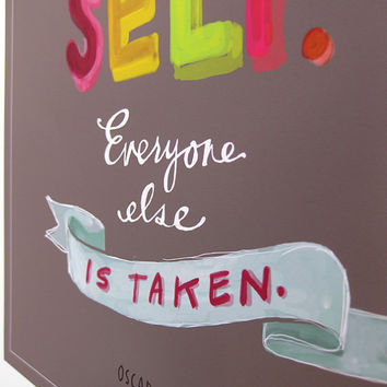 "Oscar Wilde ""Be Yourself"" Inspirational Quote, 11x14 Print Grey Colorful by Emily McDowell"
