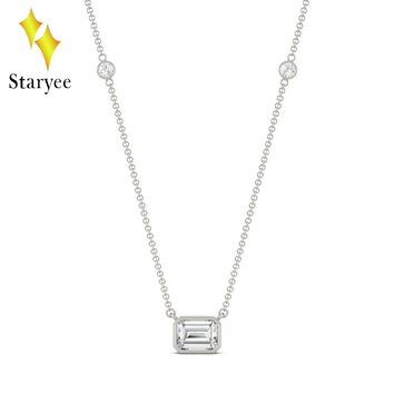 Moissanite Necklace 1.05CTW Emerald Cut Moissanite East-West Solitaire with Side Accents Lab Diamond Necklace 18K White Gold