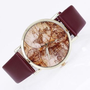Fashion Women's World Map Leather Band Analog Quartz Wrist Watch Watches Montres