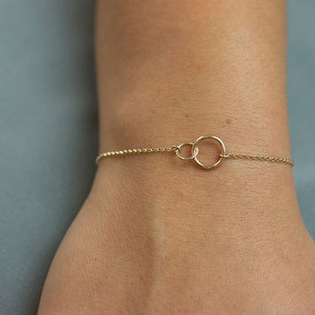Unity Link Bracelet Dainty Gold Or Silver Delicate Minimal Infinity