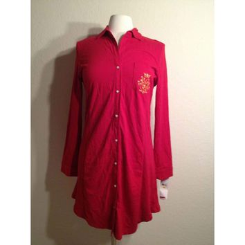 Lauren by Ralph Lauren Home For The Holidays Pajama Sleepshirt 813440 Medium Red
