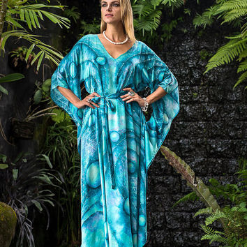 Perfection - pure silk dress, Ocean blue meditation clothing, Long caftan goddess dress, Sacred geometry art, Natural silk V-neck dress