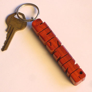 Paduak Wood Name Keychain - Carved to Order