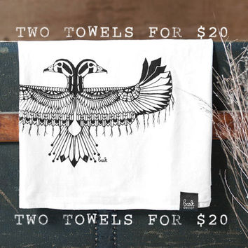 Two For 20 -  Hand Printed Flour Sack Dish Kitchen Towels - by Bark Decor