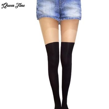Women Over the Knee Tattoo Tights,Black Mixed Colors Gipsy Mock Ribbed,Sexy Tinted Sheer False High Stocking Pantyhose Hosiery