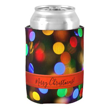 Multicolored Christmas lights. Add text or name. Can Cooler