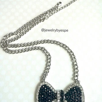 Black Bow Necklace Crystal Necklace Silver Necklace Bib Necklace Chunky Necklace Statement Necklace  Gifts Ideas