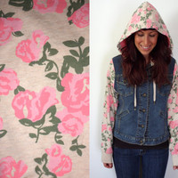 Upcycled Levi's Jean Jacket Pink & Cream Floral Hoodie