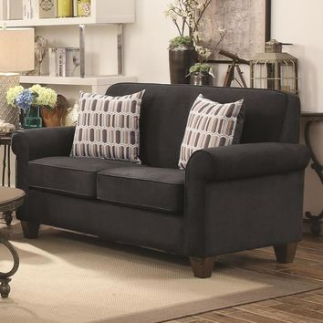 Transitional Wood & Fabric Loveseat With Rolled Arms, Gray