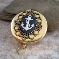 Nautical Anchor Cameo Steampunk Pocket Compass