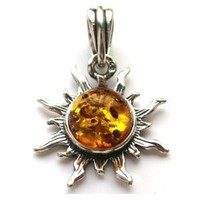 Amber Stirling Silver 925 Small Sun Pendant