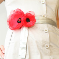 Red organza layered flower clip, hair clip and brooch combo, multiple layers clip, black seed beads, combo *2