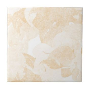 Light Gold Floral Ceramic Tile