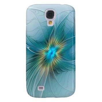 The little Beauty, Abstract Fractal Art with blue Samsung S4 Case