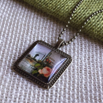 "Paris France Arc de Triomphe and Flowers Square Glass Cabochon Antiqued Brass Geometric Pendant Necklace 27"" Ball Chain #ABS1-PARIS-16"