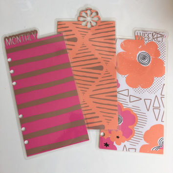 Planner bookmark dividers - personal size, peach pink