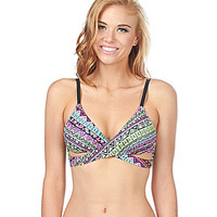 Bikini Lab Don't Worry Be Strappy Faux-Wrap Bra Top - Multi