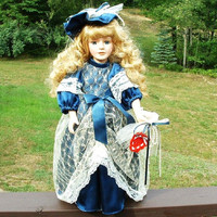 Vintage Porcelain Doll Victorian Dress Blonde Hair Collectors Choice by DanDee