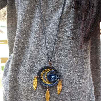 Moon and Star Dream Catcher Necklace Pendant // Boho Hippie Gypsy Jewelry