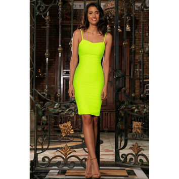 Neon Yellow Lime Green Stretchy Summer Trendy Bodycon Mini Dress Women