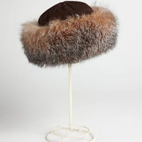 Surell Fox-Fur Trimmed Suede Hat