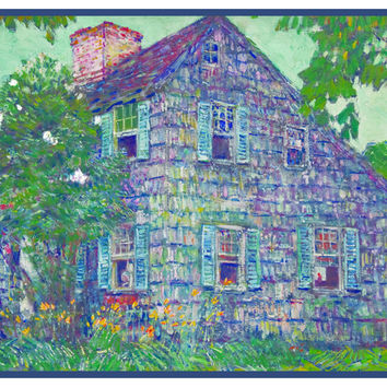Old House in East Hampton Long Island by American Impressionist Painter Childe Hassam Counted Cross Stitch or Counted Needlepoint Pattern