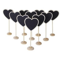 5 pcs Mini Wooden Heart Blackboard Chalkboard Stands Wedding Table Number Decor Heart  [7983319815]