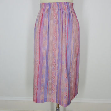 Vintage Midi Skirt / Pastel Native American Style Geometric Abstract Print / Miss Marylin of Dallas 1980s 80s / Size Extra Large XL Plus
