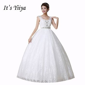 It's Yiiya Plus Size Sleeveless Pregnancy Wedding Dresses Floor Length Princess White Cheap Simple Sequins Bride Dress HS151