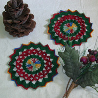 Red Petals in Green Set of 2 Coasters or Trinket Doily - Multi-Color Textured Thread Crocheted Lace - Holiday or Nature Colors
