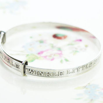 Adjustable Baby Bangle, Metal Baby Bracelet, Nursery Rhyme, Twinkle Twinkle Little Star, New Baby Gift, Vintage Baby Gift - 1980's / 1990's