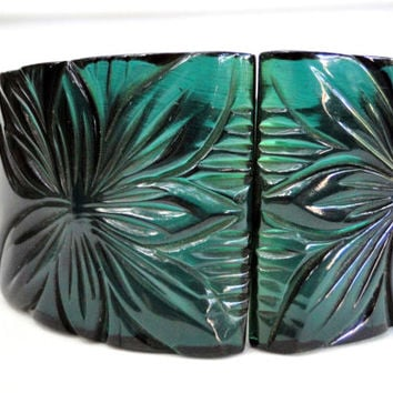 Carved Bakelite Bracelet Art Deco Orchid Hinged Cuff Wide Clamper Style Very Rare Free Shipping