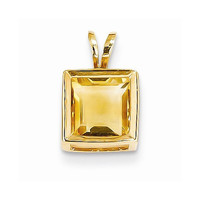14k Yellow Gold Princess Cut Citrine Bezel Pendant