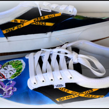 Custom Mens Shoes, Mens Vans, Mens Generic Shoes, Painted Superhero & Villain Shoes, Painted Canvas Shoes, Joker, Superhero