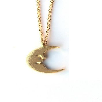 Gold Half Moon Pendant Necklace for Women