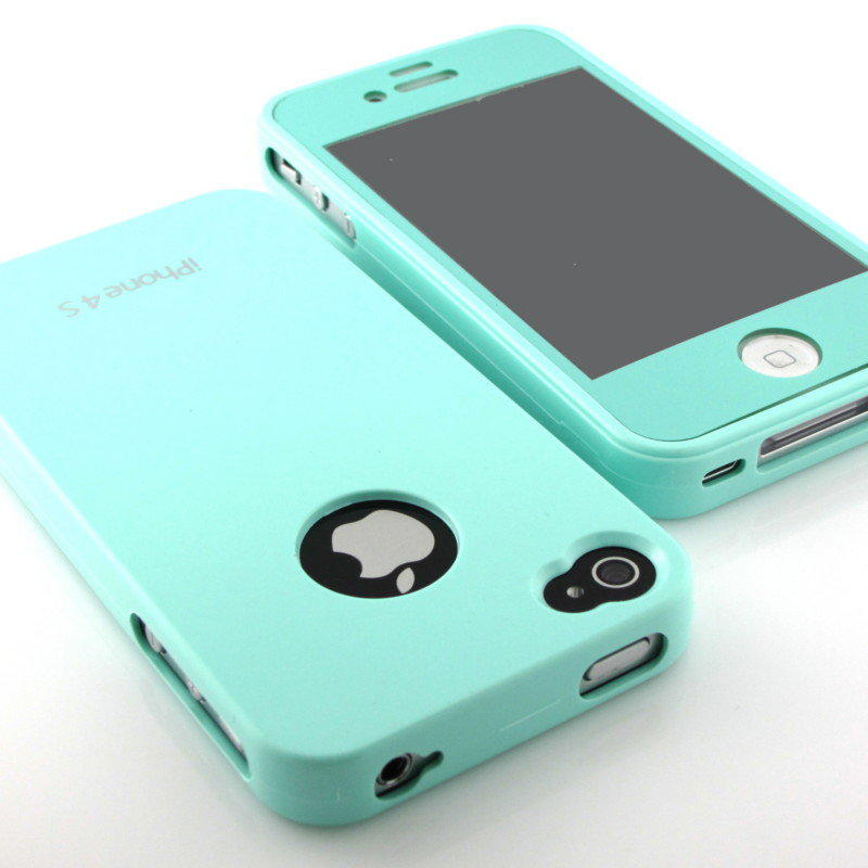 New Mint Glossy Hard back Silicone case cover+Mint Screen for iPhone 4 4S 4G