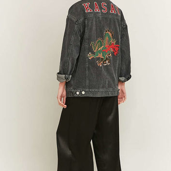 BDG Embroidered Dragon Black Denim Jacket - Urban Outfitters