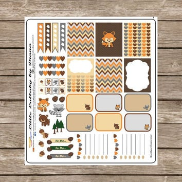 Woodland Creature Forest Animal Themed Sticker Set  - Great planner or scrapbook accessories!