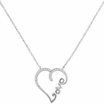 10kt White Gold Women's Round Diamond Heart Love Pendant Necklace 1-12 Cttw - FREE Shipping (US/CAN)