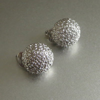 Vintage Button Earrings, Silver Tone Textured Clips, Diminutive, Cute!