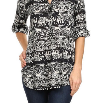 Black Elephant Print Blouse